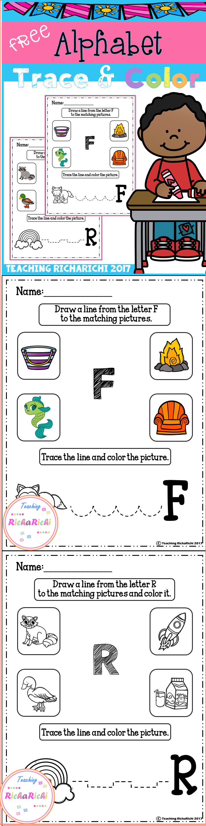 FREE Alphabet Trace And Color Set 5 Kindergarten