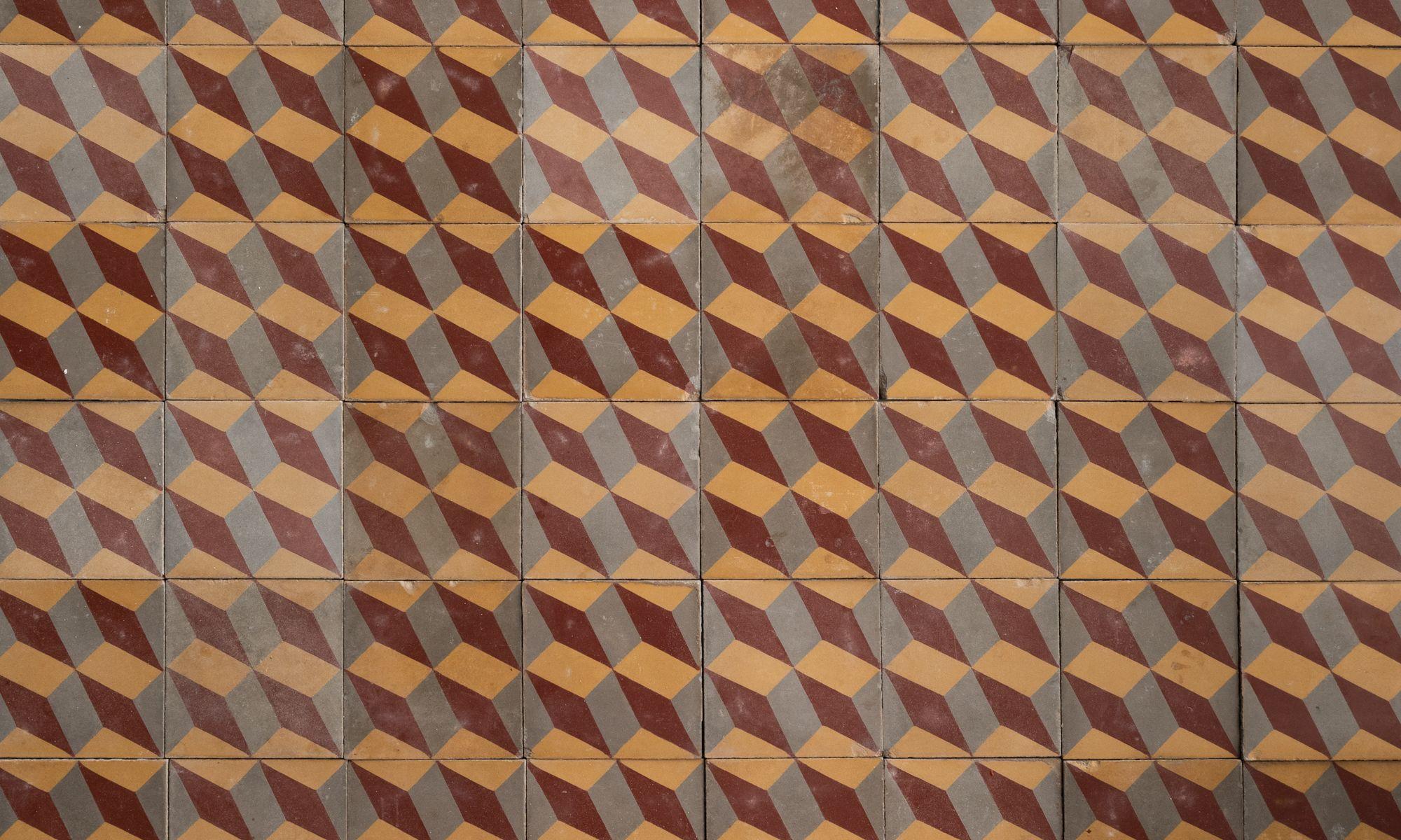 Set of 48 Geometric Pattern Floor Tiles Obsolete