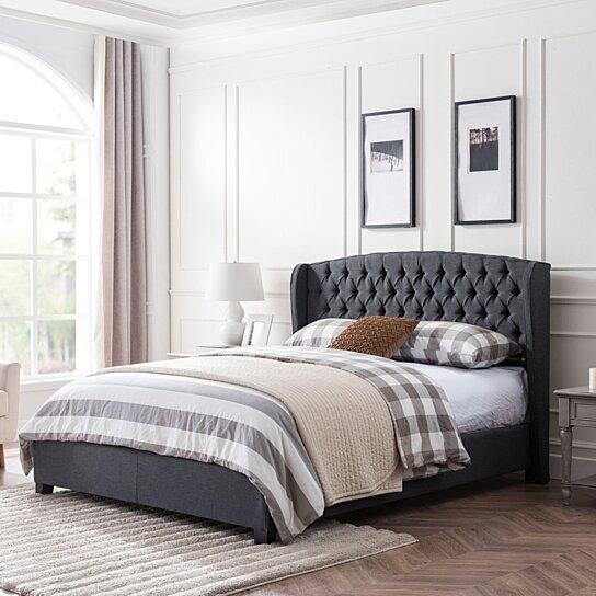 Elizabeth FullyUpholstered KingSize Platform Bed Frame
