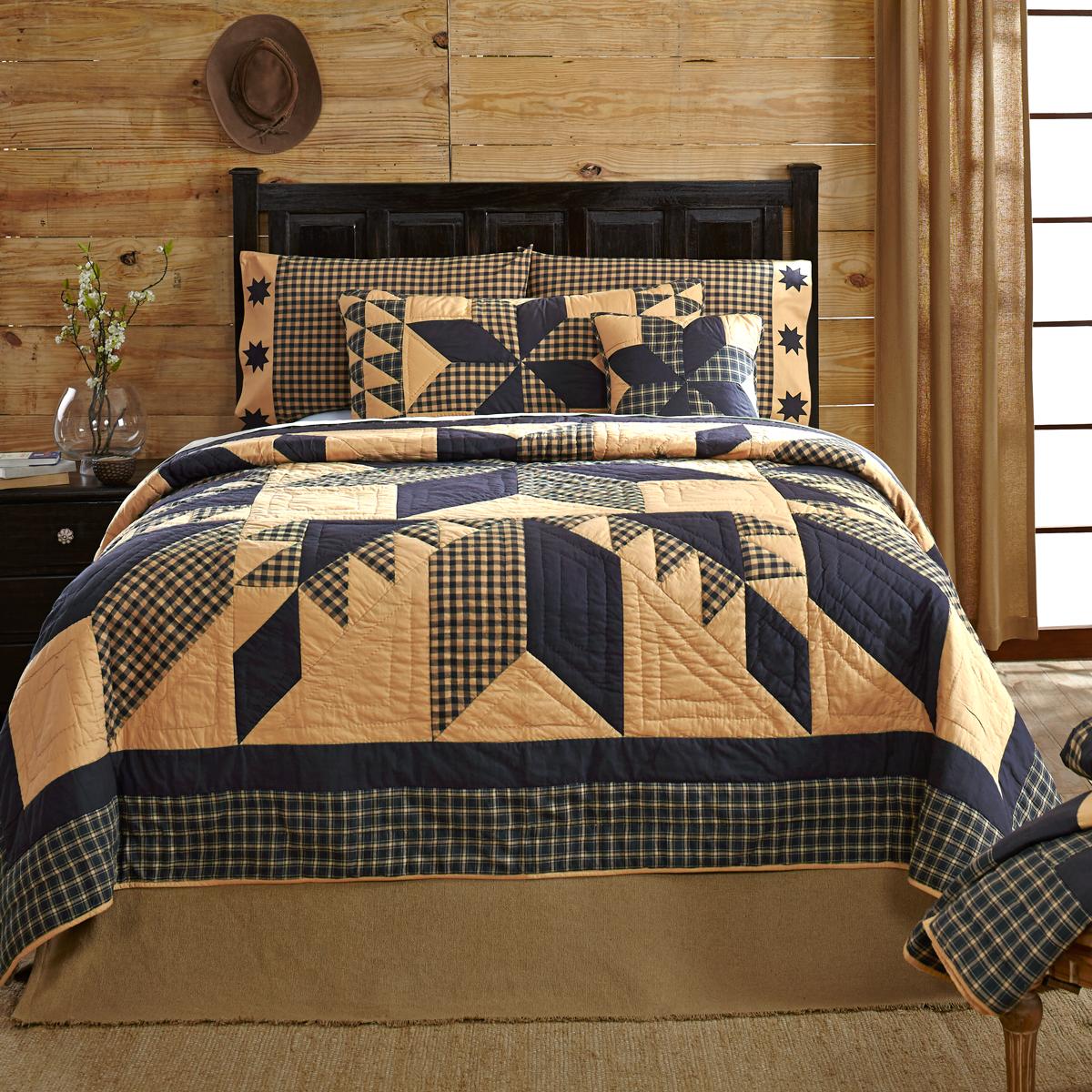 JAMESTOWN BLACK /& TAN 2pc Twin Quilt Set Primitive Farmhouse Patchwork Star