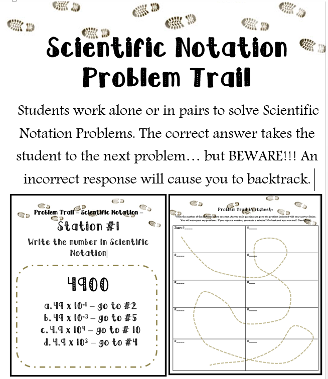 Scientific Notation Activity Problem Trail Add Movement To Your