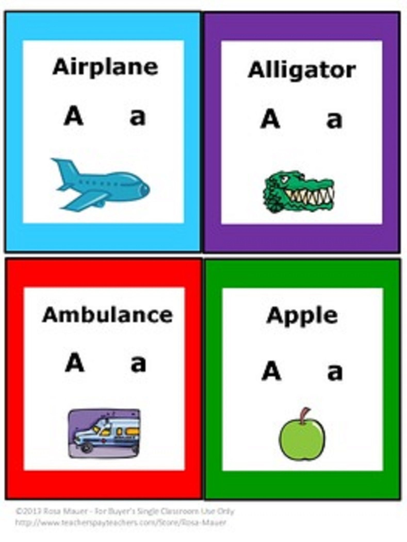 Free Alphabet Cards In This Sample Include Letters A