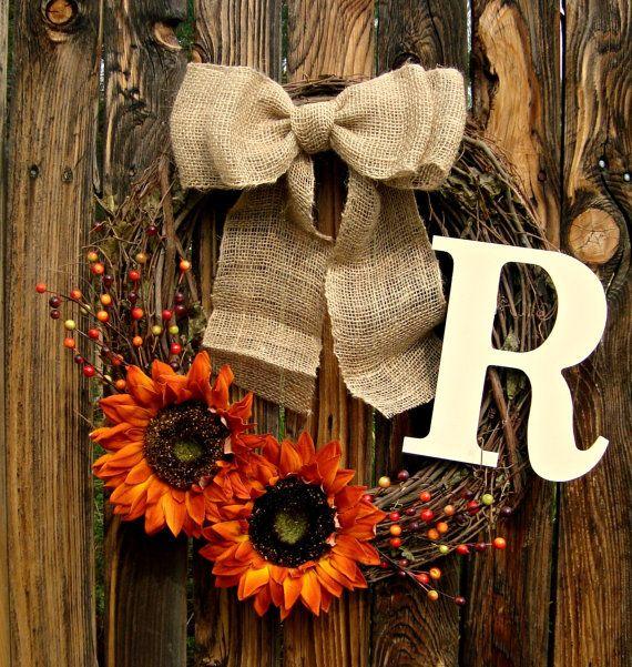 Diy Monogram Fall Wreath: Autumn Orange Sunflower And Monogram Wreath