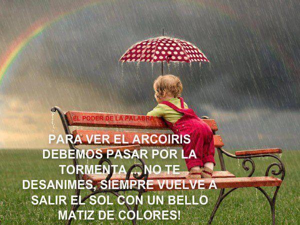 Para ver el arcoiris debemos pasar por la tormenta ¡no te desanimes! siempre vuelve a sali… | Mensaje de motivacion, Frases de superacion, Reflexiones de motivacion