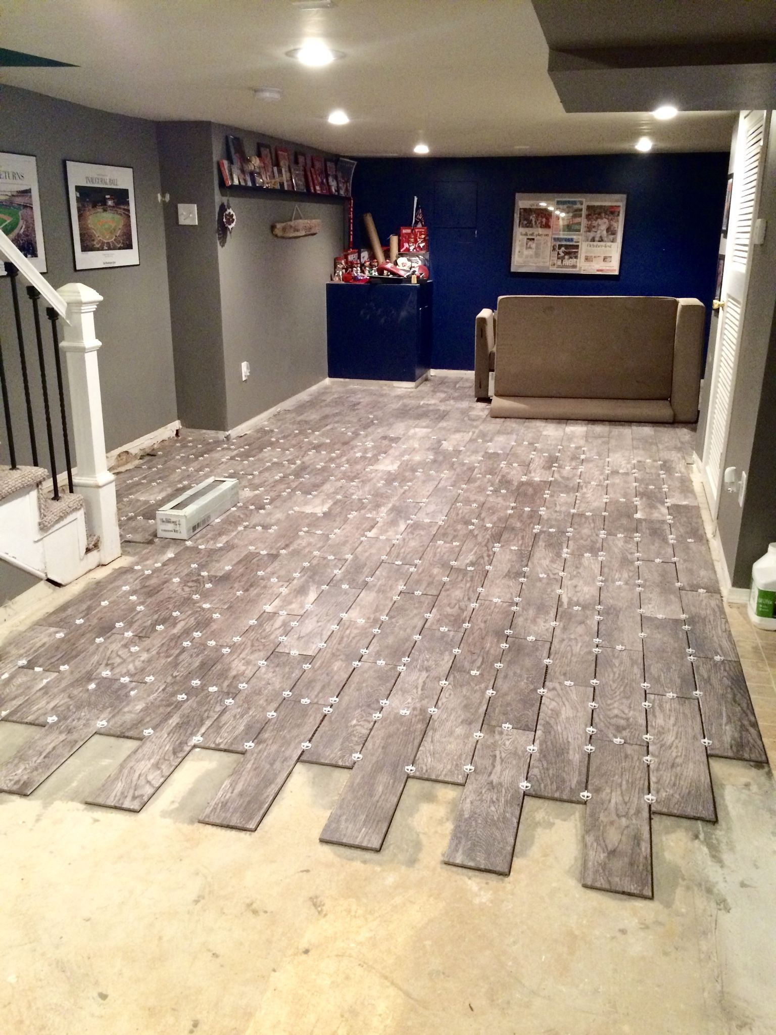 basement flooring renovation  u2013 eclectically grey wood