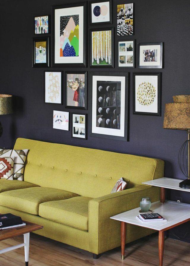 Wanddeko Bilder Wand Anthrazit Farbe Design Wohnen