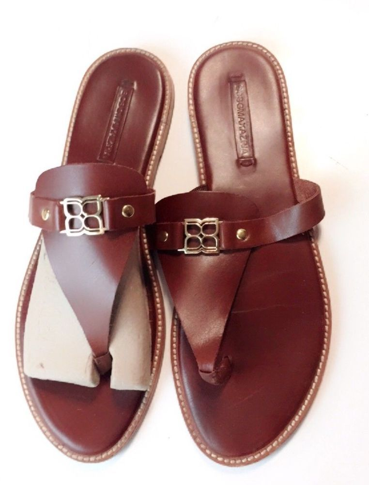 3f5d261b65b BCBG Women s Sandals Brown Leather Flip Flops Gold Metal Buckle Size 10   BCBGMAXAZRIA  FlipFlops  Casual