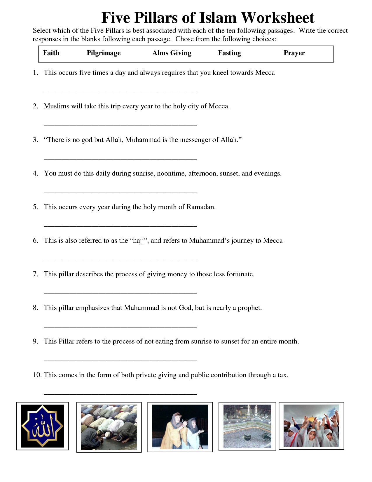 Five Pillars Of Islam W S Learnarabicworksheets