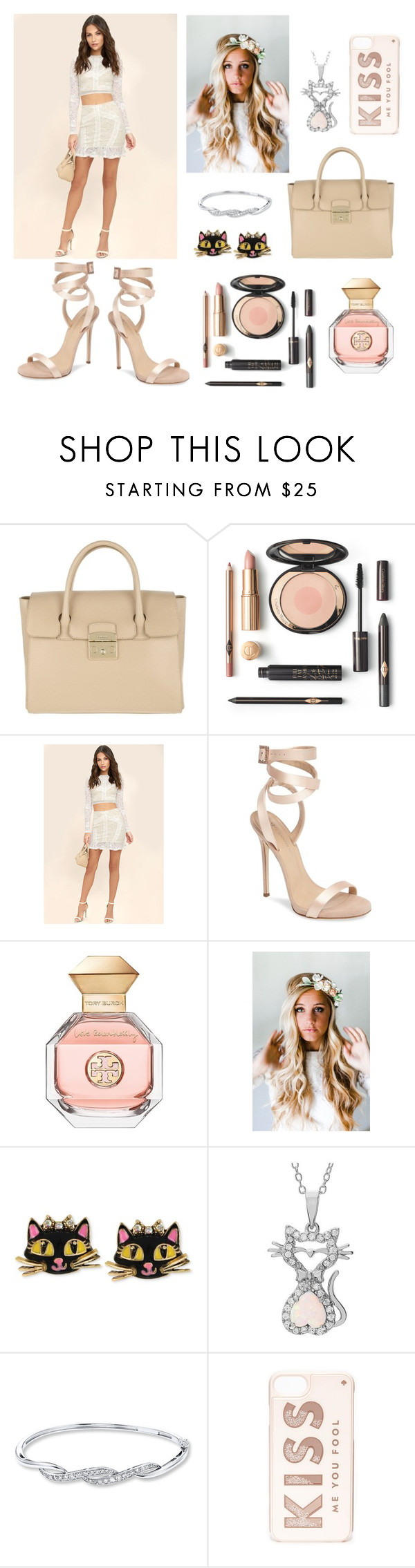 """""""😸"""" by hollyjaki ❤ liked on Polyvore featuring Furla, LULUS, Giuseppe Zanotti, Tory Burch, Emily Rose Flower Crowns, Betsey Johnson, Journee Collection and Kate Spade"""