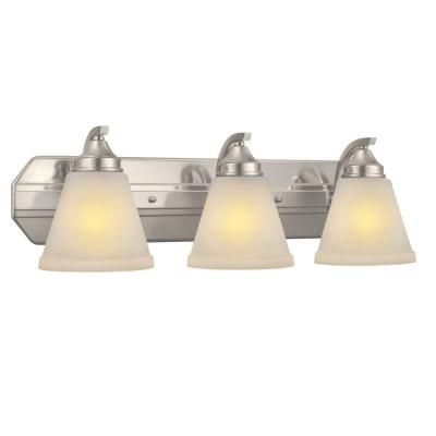 Hampton Bay 3 Light Brushed Nickel Vanity Light With Frosted