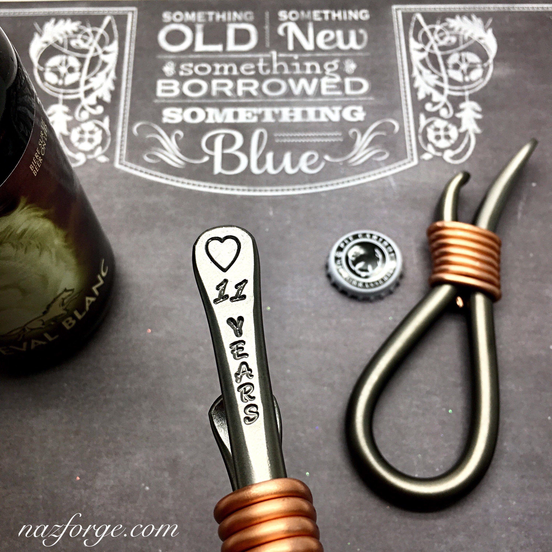 11th year steel wedding anniversary gift bottle opener for