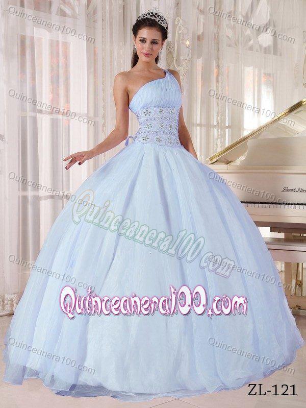 Noble Light Blue One Shoulder Sweet 16 Dress with ...