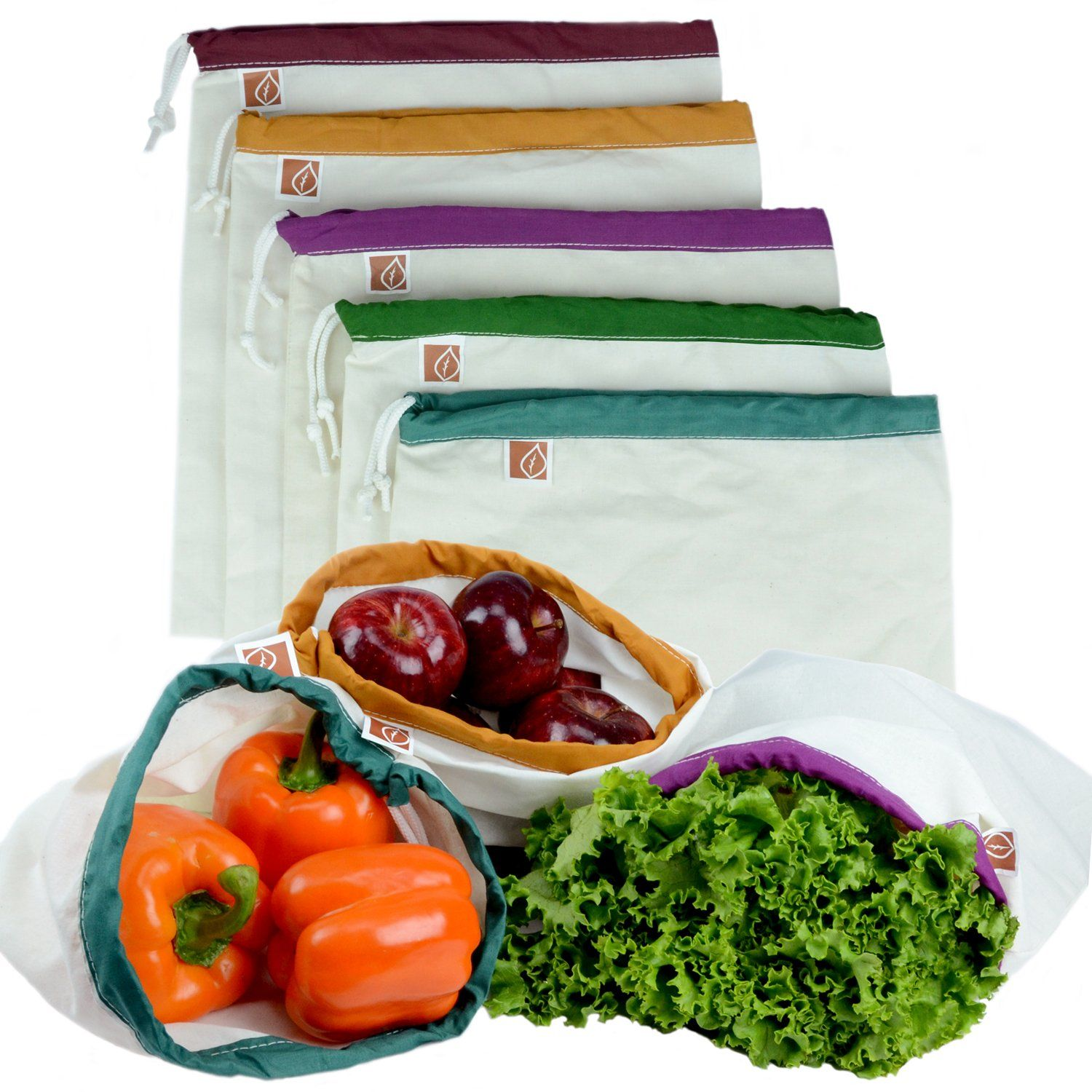 """Amazon.com: Eco Friendly Washable and Reusable Produce Bags - Soft Premium Lightweight Cotton Muslin Canvas Large - 12"""" X 14"""" - Set of 5 (Red, Yellow, Green, Blue, Purple) 