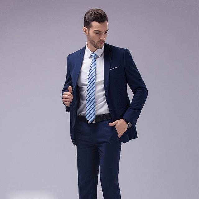 Oscn7 12 Color 2pcs Slim Fit Suits Men Notch Lapel Business Wedding