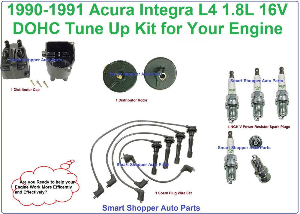 90-91 INTEGRA Ignition Wires Cap /& Rotor 4 Spark Plug Tune Up Kit