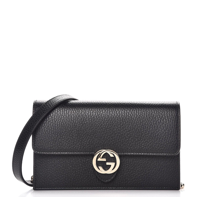 d878881cfec7aa GUCCI Dollar Calfskin Interlocking G Chain Wallet Black | My style ...