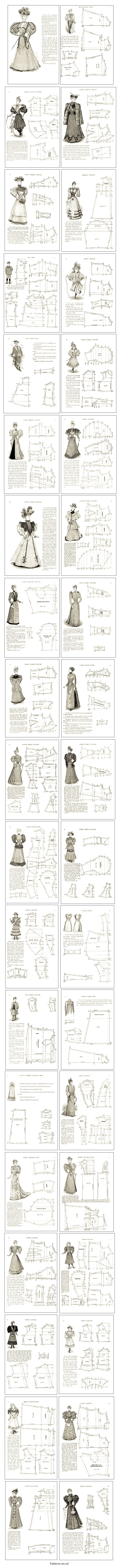 80 Victorian Period Costume Patterns Cutting Dress Making Guide on ...
