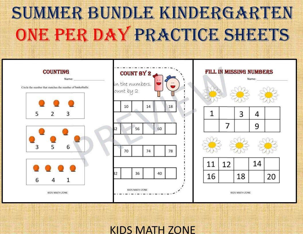 Kindergarten Math Bundle One Per Day 50 Worksheets Instant Etsy Kids Math Worksheets Kindergarten Practice Kindergarten Addition Worksheets