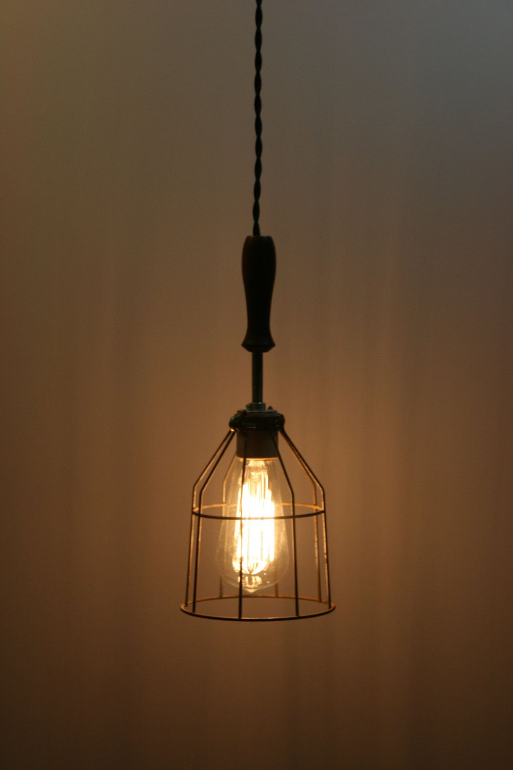 Wood Handle Industrial Hanging Pendant Light With Vintage Style Wire