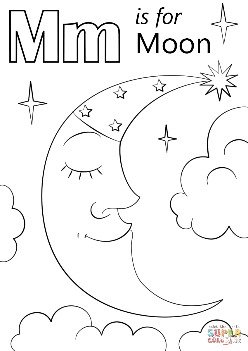 Letter M Worksheets Moon Coloring Pages Preschool Coloring Pages Abc Coloring Pages
