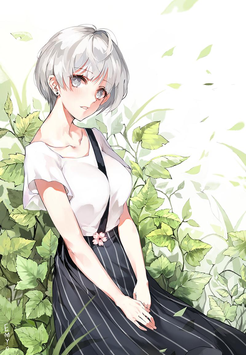 White hair long dress black dress white top