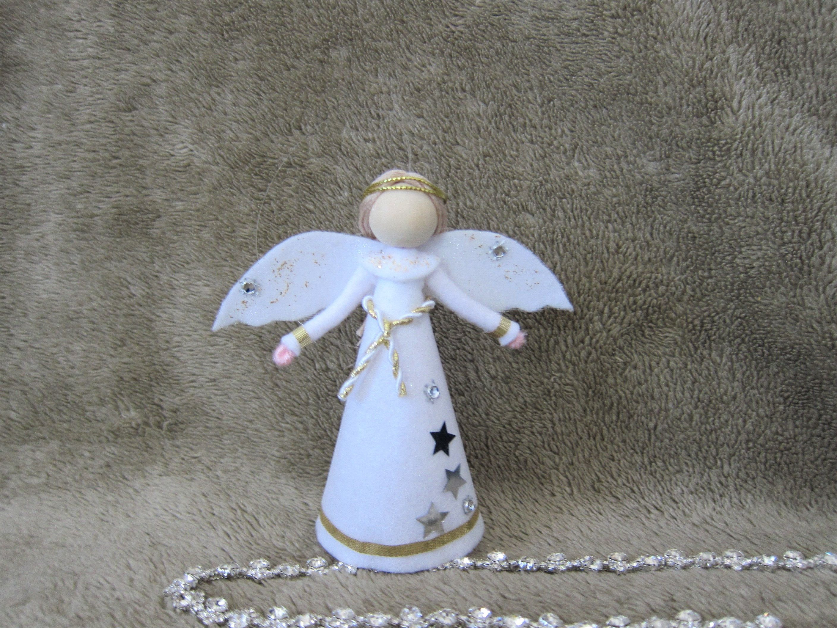 Mini Angel Tree Topper White Christmas Angel Felt Angel Etsy In 2020 Christmas Dolls Christmas Angels Handmade Christmas