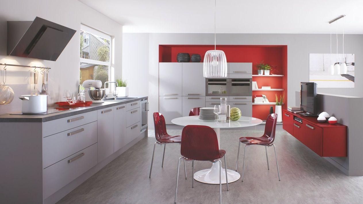 Cuisine équipée Moderne En L Trend Grise Rouge Cuisinella