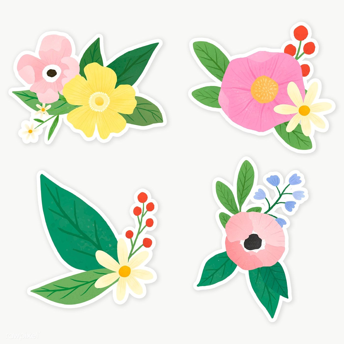 Colorful Floral Sticker Collection Transparent Png Premium Image By Rawpixel Com Katie Moir Floral Stickers Flower Clipart Flower Printable