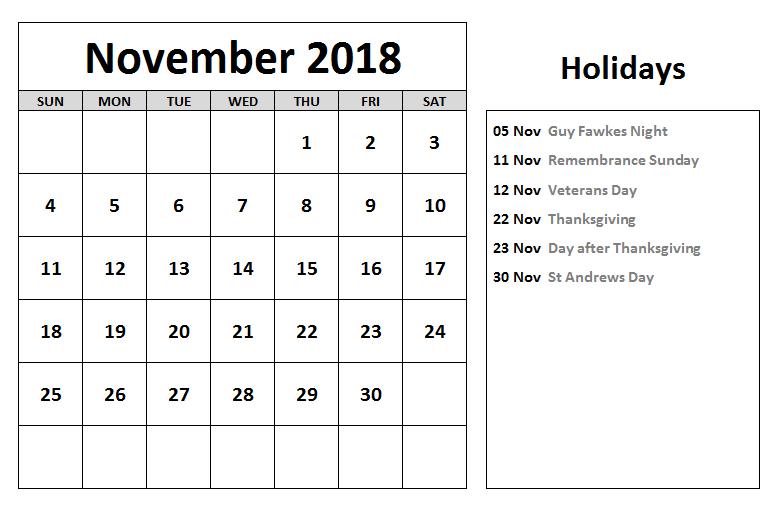 november 2018 festivals calendar