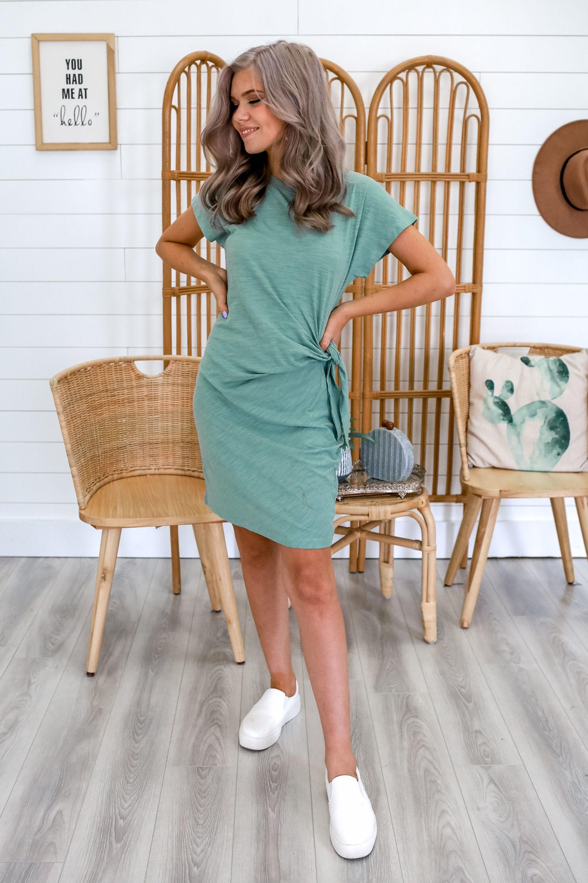 Teal Tie Waist Bodycon T Shirt Dress Trendy Clothes For Women Shirt Dress Clothes [ 3064 x 2043 Pixel ]