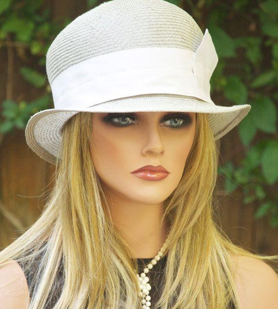 447b1528a1b17 Oyster Gray & Cream Straw Hat. Cloche. Downton Abbey Hat. Great ...