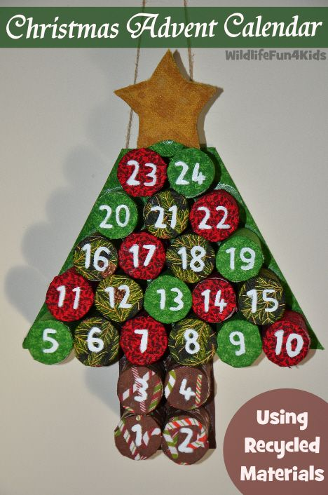 Diy advent calendar from recycled materials toilet rolls for Diy crafts using recycled materials