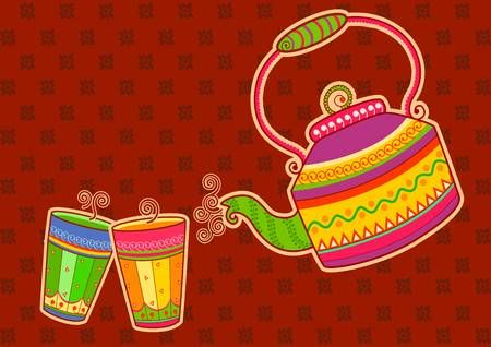 Vector design of tea kettle and glass in Indian art style