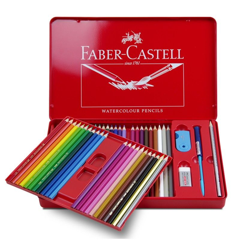 Faber Castell Watercolour Pencil Metal Case 60 Colors Tin Boxes
