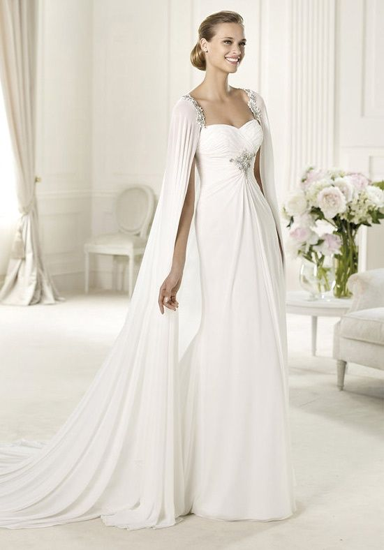 e9df716b99 Chiffon sweetheart dress and a cape held by fine beaded straps-Unique wedding  dress for an unique moment