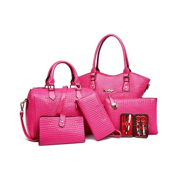Embossed Tote Handbag 6Pc Set ($48) ❤ liked on Polyvore featuring bags, handbags, tote bags, rosegal, pink tote, embossed purse, tote purses, handbags tote bags and pink purse