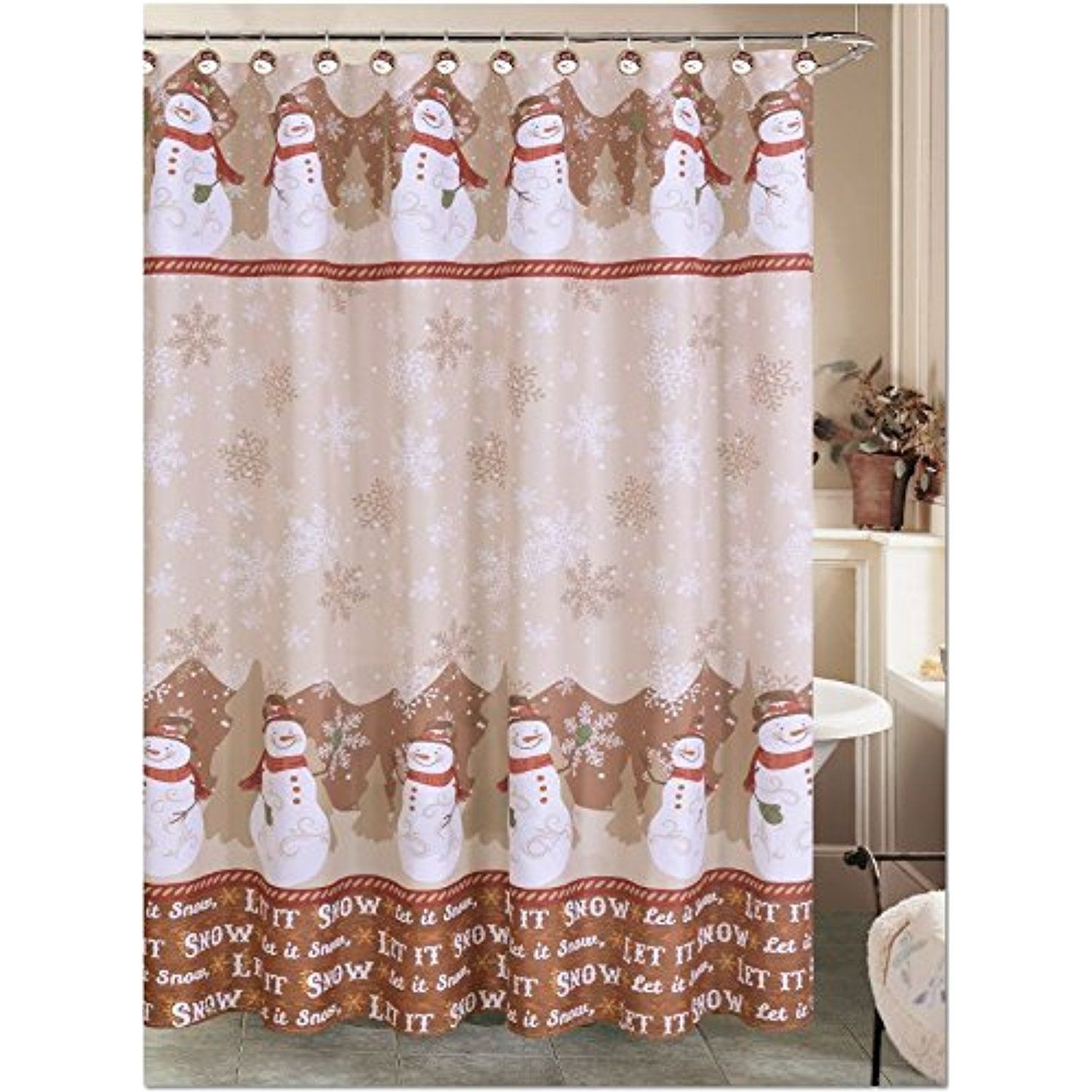 Holiday Snowman Shower Curtain With 12 Resin Hook Rings Bathroom Set Be Sure