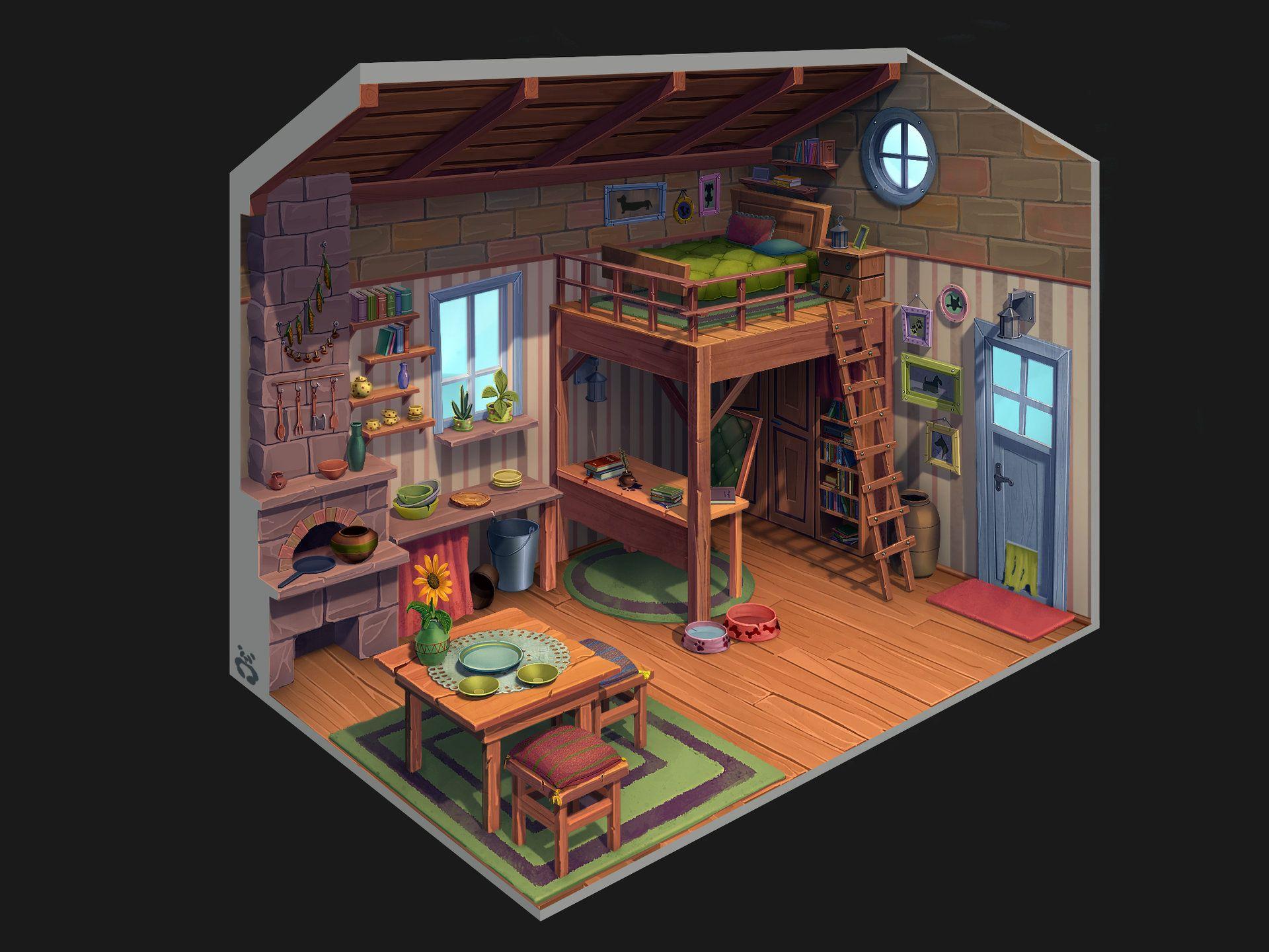 House_interior, Yana Blyzniuk Game art, Concept art