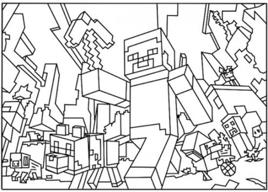Minecraft World Coloring Pages 550x395 Picture Coloring and - new coloring pages of the diamond minecraft
