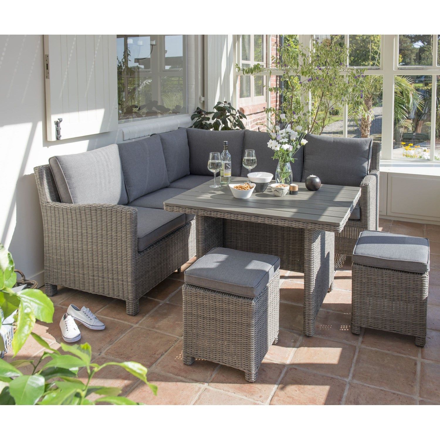 Kettler Paros 8 Seater Garden Dining Table And Chairs Set Grey: Kettler Palma Mini Corner Set Rattan