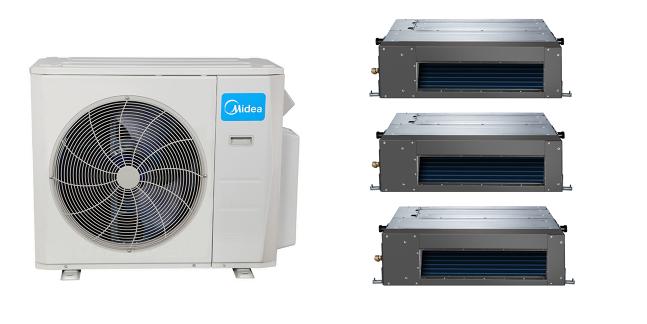 Midea Slim Ducted In Minisplitwarehouse Shop A Midea 21 Seer 3 12000btu 3 Zone Mini Split Heat Pump Ac Fo Heat Pump Air Conditioner Heat Pump Heat Pump System