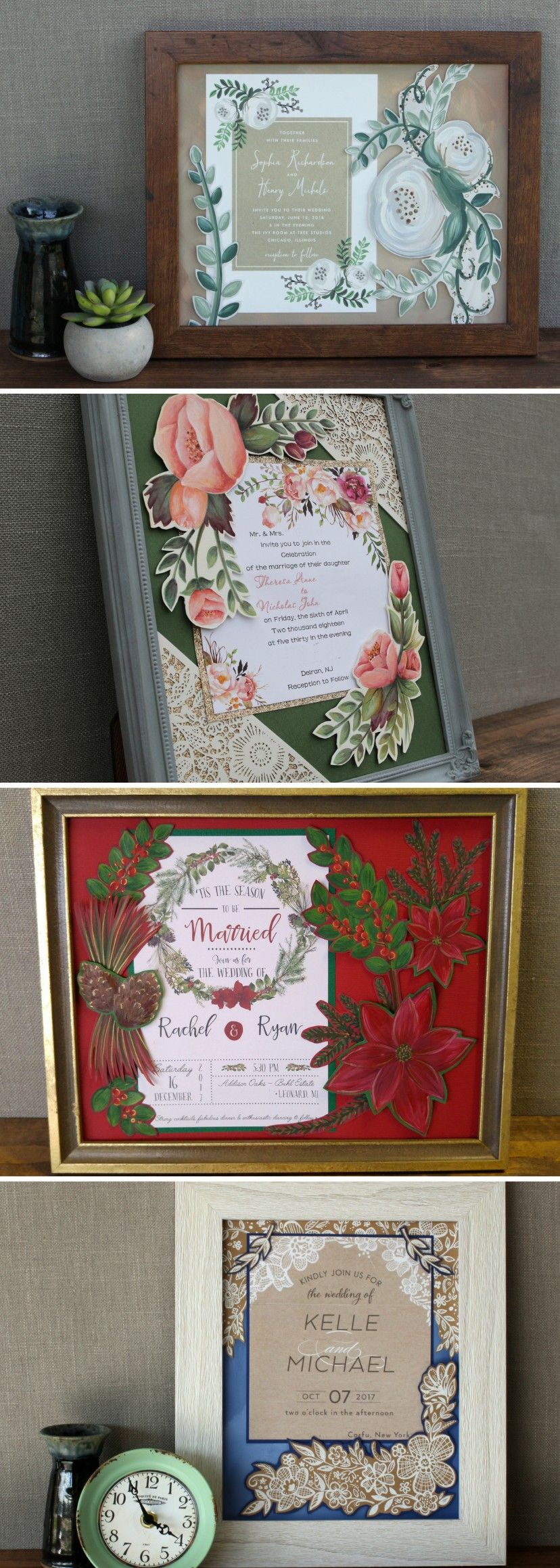 Framed Wedding Invitation Painting 8 X 10 Unique Wedding Gift For