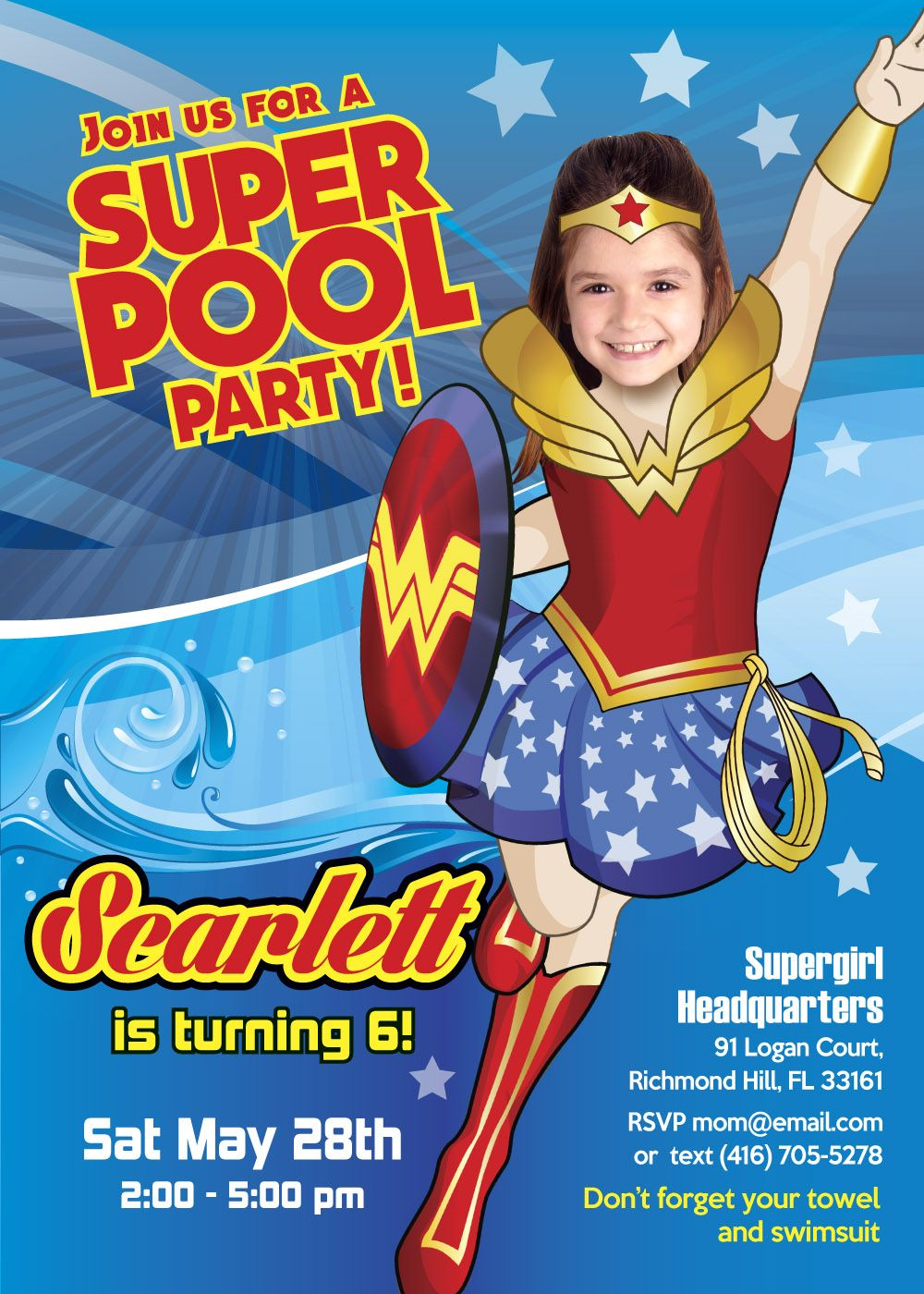 Pool Party Wonder Woman Invitation Turn Your Little Girl -5314
