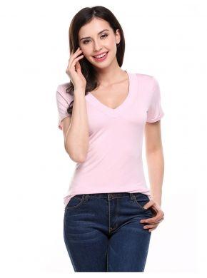Rosa con cuello en V manga corta elástico sólido Pullover Camiseta básica