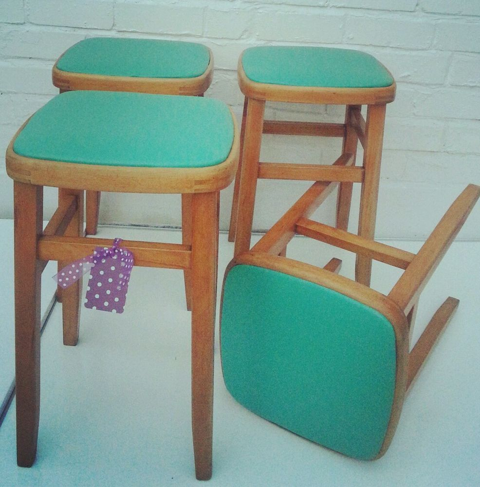 Set of 4 Retro KITSCH 1950\'s 1960\'s kitchen formica STOOLS chairs ...