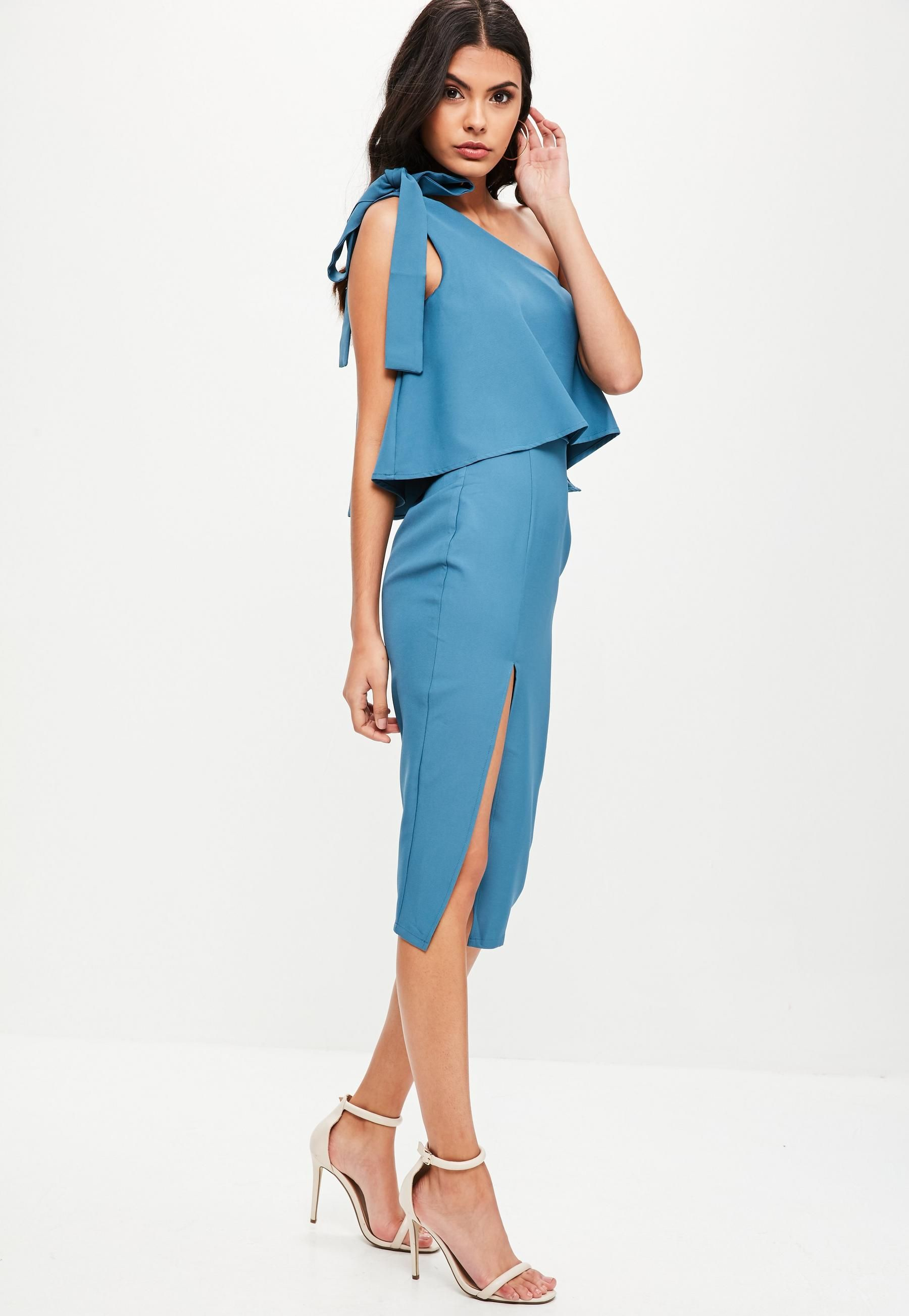 Blue One Shoulder Bow Sleeve Midi Dress | Missguided Australia ...