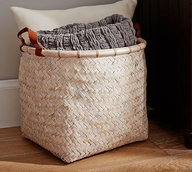 Whitewashed Basket with Leather Handles.  Would be great with a Fiddle Leaf Fig tree