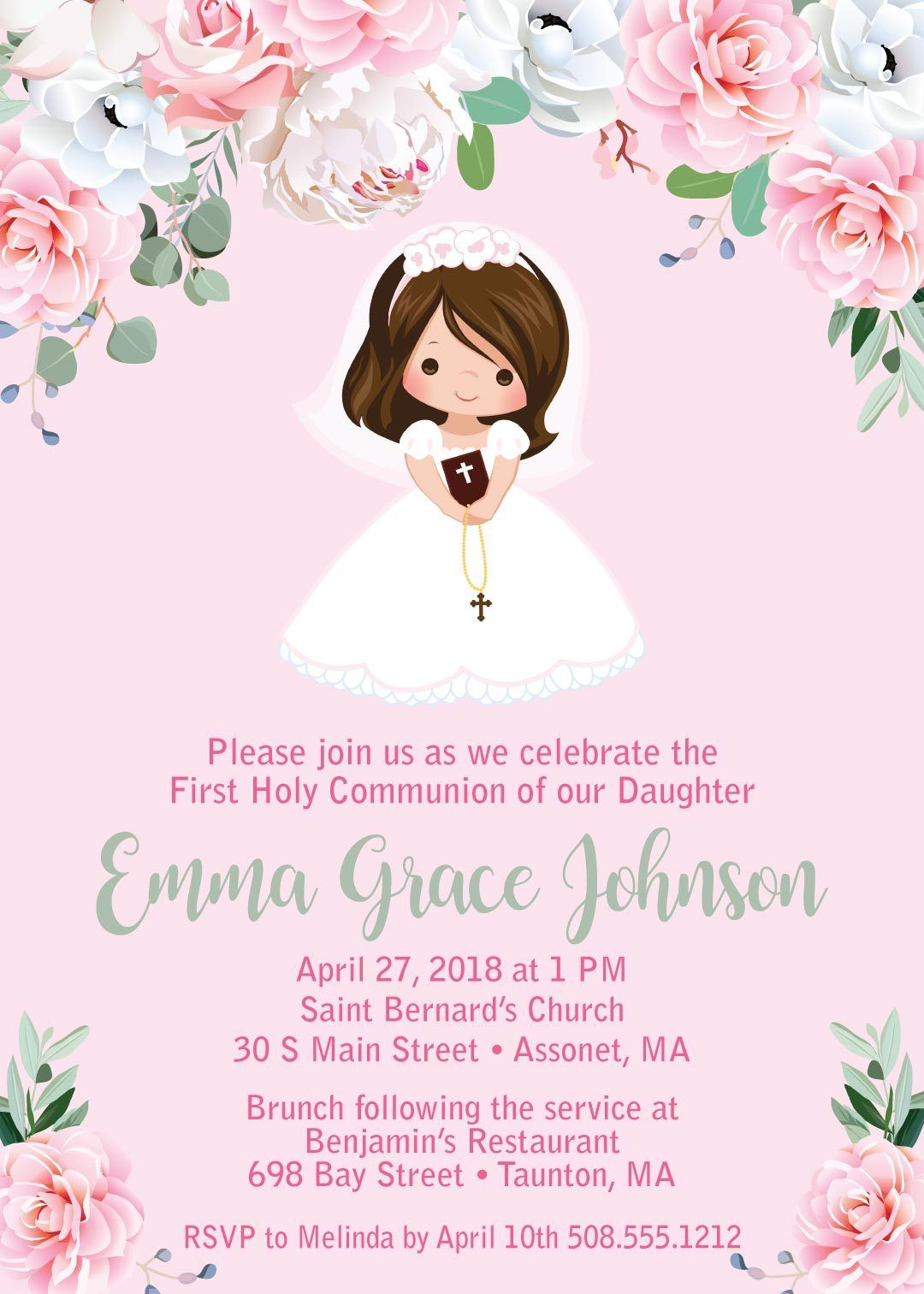 Girl First Communion Invitations First Holy Communion First