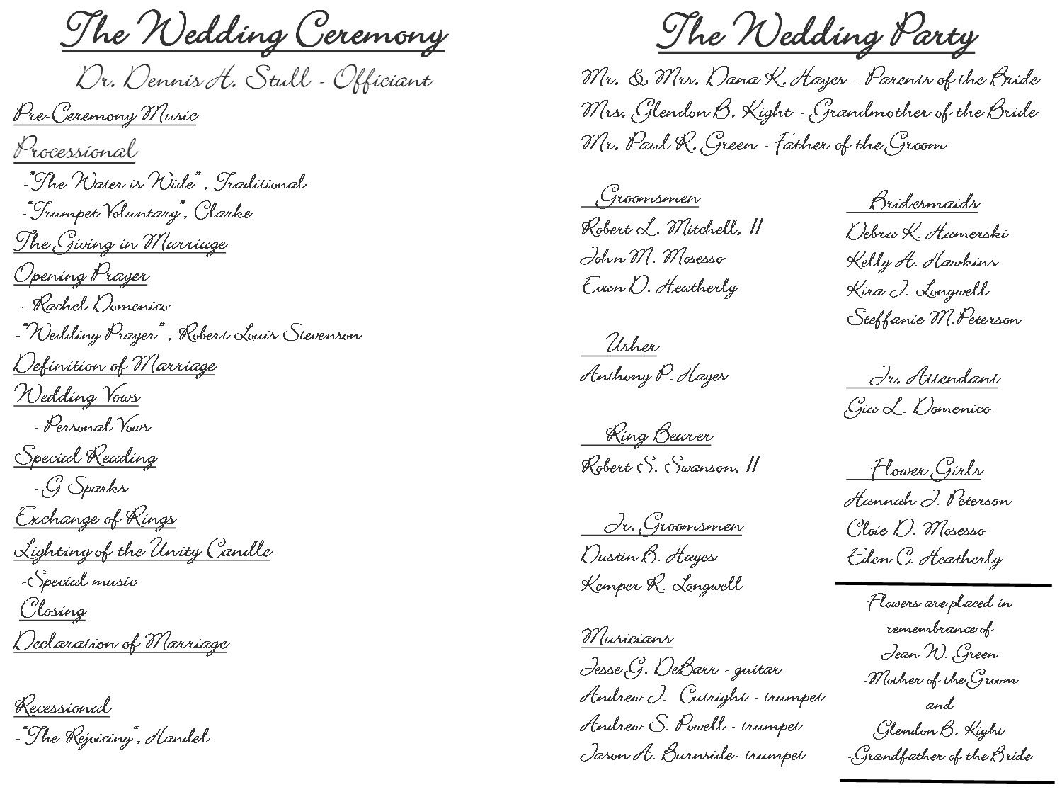 Sample Wedding Ceremony Program Template | Sample Wedding Programs Templates Selo Yogawithjo Co