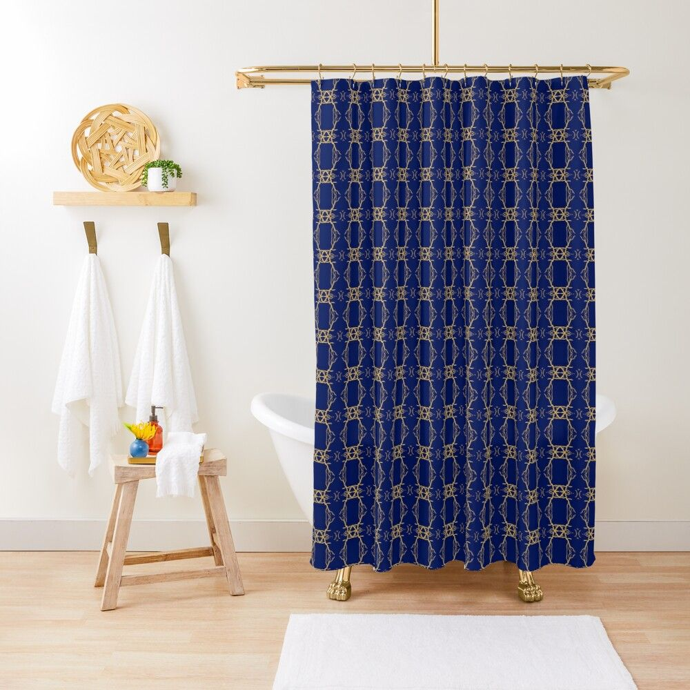 Navy Gold Chain Pattern Shower Curtain Navy Gold Patterned